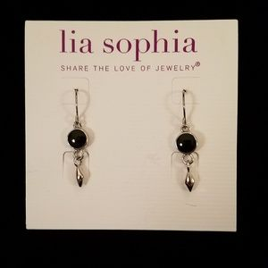 "LIA SOPHIA - ""RODEO"" earrings, silver with black"